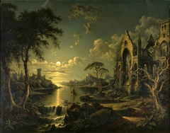 A Ruined Gothic Church beside a River by Moonlight