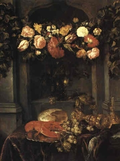 A still life with a lobster, flowers, roemer and grapes on a draped table