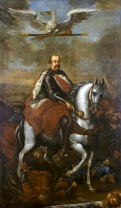 Allegorical portrait of Jerzy Sebastian Lubomirski on horseback.