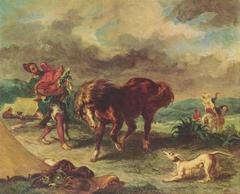 An Arab Saddling his Horse