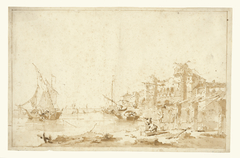 An Imaginary View of a Venetian Lagoon, with a Fortress by the Shore