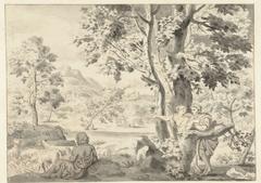 Bomenrijk landschap met een herder, een man en een vrouw
