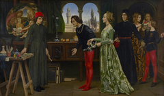 Boticcelli's studio: The first visit of Simonetta presented by Giulio and Lorenzo de Medici