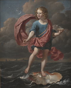 Boy Blowing Soap Bubbles. Allegory on the Transitoriness and the Brevity of Life