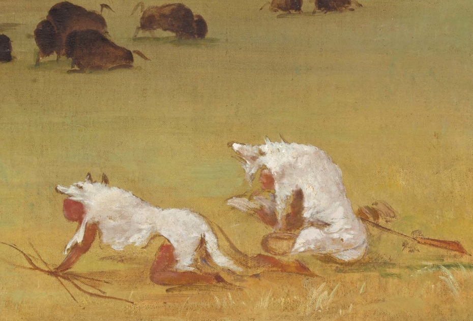 Catlin and His Indian Guide Approaching Buffalo under White Wolf Skins