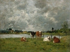 Cows in a field under a stormy sky, 1877