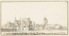 De ruïne van de abdij te Rijnsburg