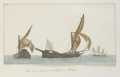Drie schepen: twee spéronares van Scilla en een tartanes