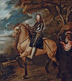 Equestrian portrait of King Charles I, full-length, in armour on a dun horse, a baton in his right hand, wearing the Order of the Garter, followed by an equerry carrying his helmet