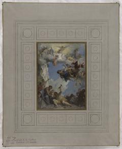 Esquisse pour l'escalier d'honneur de la mairie de Pantin : Le Travail sous l'égide de la République amène l'abondance et la prospérité (plafond)