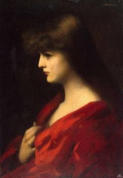 Étude de femme en rouge