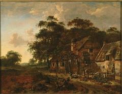 Evening landscape with a farm