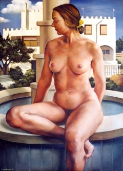 Female nude on a fountain