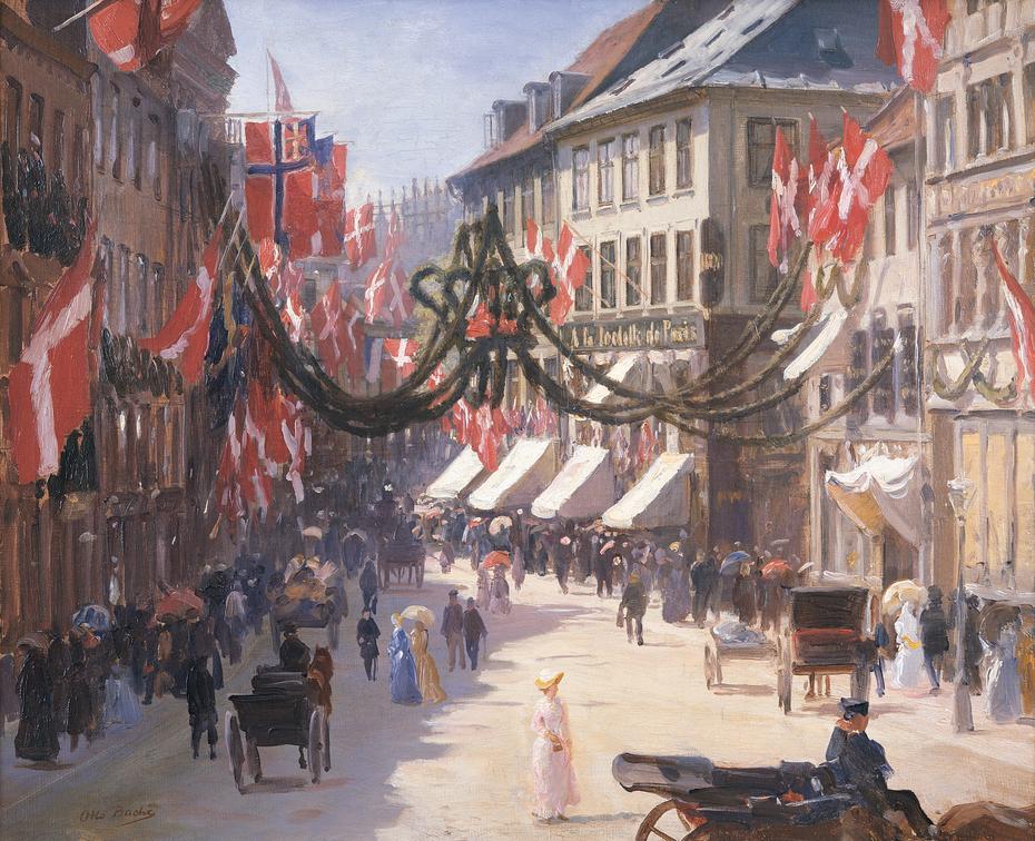 15. Flag Day in Copenhagen on a Summer Day, in Vimmelskaftet