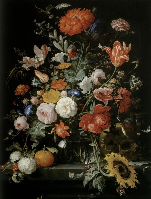 Flower still life with orange, hourglass and skull