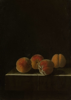 Four Apricots on a Stone Plinth
