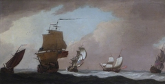 Four British Warships and a Fishing-smack in a Strong Wind
