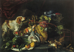 Game Birds and Fruit with a Dog and Parrot
