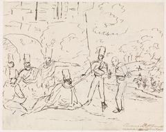 Groep soldaten zittend en twee staande personen