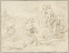 Heilige Antonius van Padua knielend in een landschap