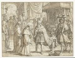 Heilige monnik op audiëntie bij een Duitse keizer