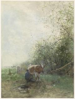 Herder en herderin met hun kudde rustend bij water