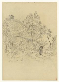 Huis aan een landweg met een figuur