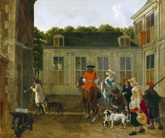 Hunting Party in the Courtyard of a Country House