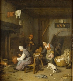 Interieur met pannenkoekbakkende vrouw