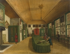 """Interior of the Hall of the """"Art Is Obtained by Labor Society"""" in Leiden """