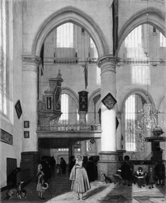 Interior of the Oude Kerk, Amsterdam, during a Sermon