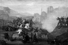 Kamp mellem tyrkere og grækere på en bro