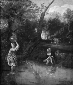 Landscape with Peasant Girls at a Stream
