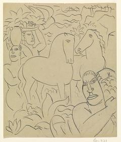 Landschap met inheemse vrouwen en paarden