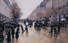 Le boulevard Poissonière sous la pluie