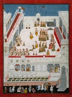 Maharana Jagat Singh II and Nobles Watching the Raslila Dance Dramas