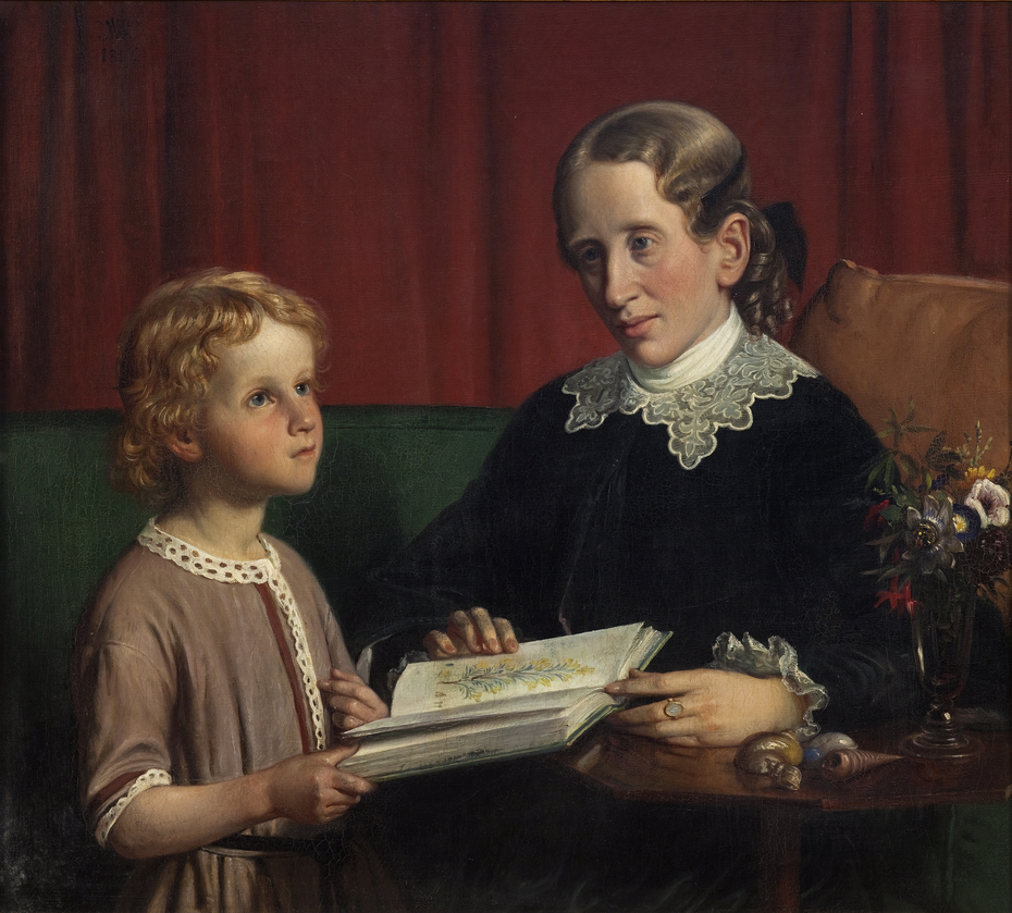 Miss Annette Hage (1814-1857) shows her nephew Hother Hage (1849-1904) a book on plants