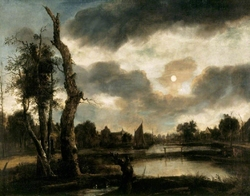 Moonlit Riverscape with a Windmill