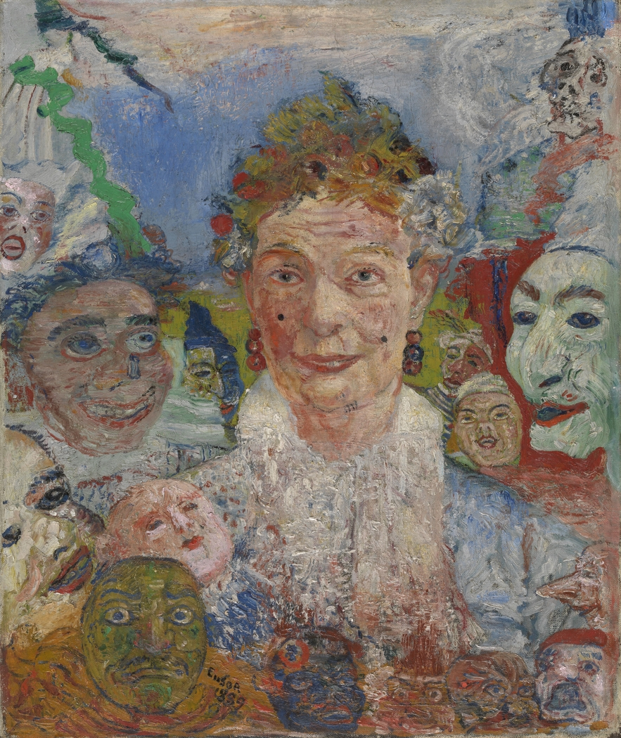Old Lady with Masks