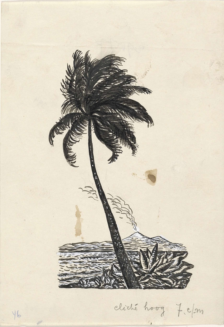Ontwerp boekillustratie voor Alexander Cohen's Van Anarchie tot Monarchie: Tropisch landschap met palmboom en vulkaan