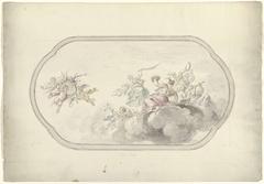 Ontwerp voor een plafondschildering met musicerende vrouwen en putti met bloemenmand als allegorie op Blijdschap