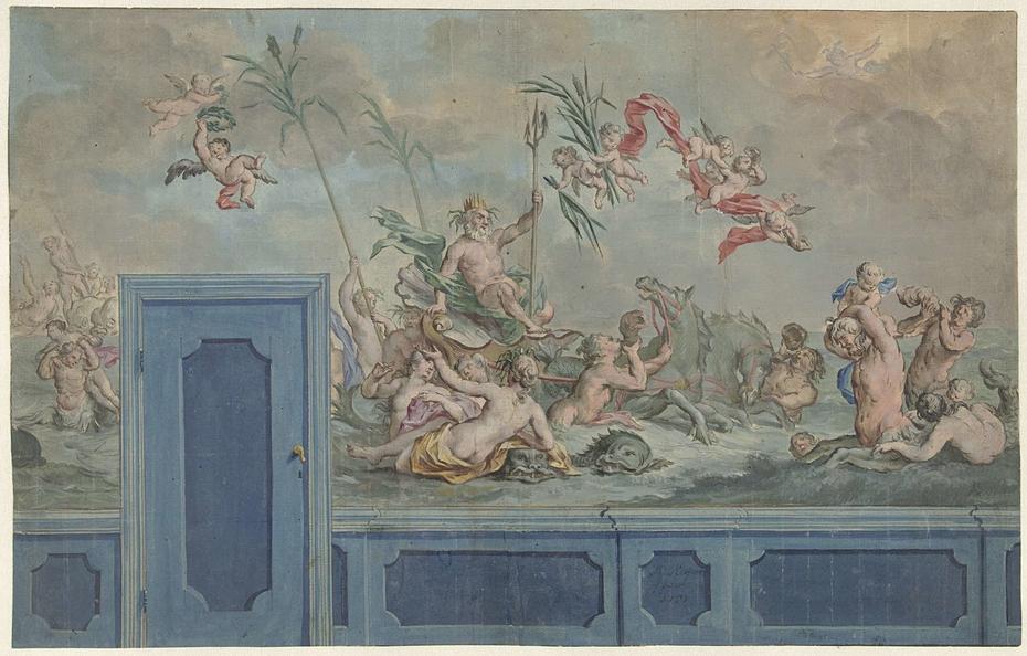 Ontwerp voor een wanddecoratie met Neptunus en zijn gevolg