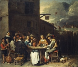 Outdoor party before an Inn