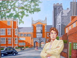 'Pauline at King's College  circa 1958', (2012). Oil on linen. 3 x 4 feet