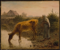 Peasant Watering Her Cow