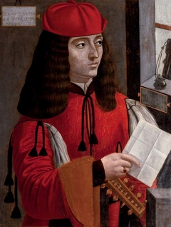 Portrait of a gentleman in a red coat and cap holding a lute and a letter