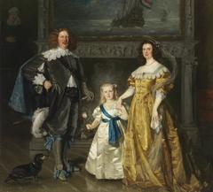 Portrait of Queen Wilhelmina van Oranje-Nassau (1880-1962), prince Hendrik van Mecklenburg-Schwerin (1876-1934) en princess Juliana van Oranje-Nassau (1909-2004)