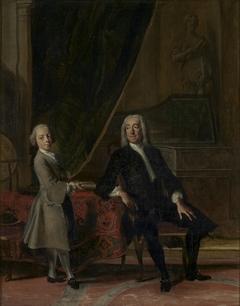 Portret van een onbekend heer met een jongen