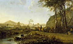 Rider and Herdsman in an Imaginary Landscape with a Ruined Castle and Distant Town