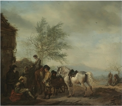 Riders halting at a Lakeside Inn